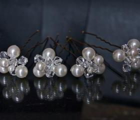 Bridal Hair Pins - Wedding Hair Accessories - Wedding Hairpins with Swarovski Elements - Pearl Hair Pins with Crystals