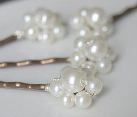 Pearl Hair Accessories - Floral Ivory Hair Grips - Flower, Weddings and Bridal