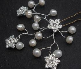 Wedding Hair Accessories - Freshwater Pearls and Rhinestone Flowers Hair Pins