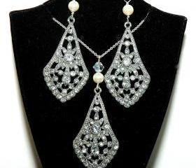 Art Deco Bridal Necklace and Earrings Set - Silver Bridal Pearl Jewelry Set