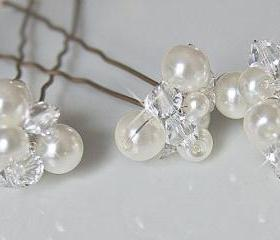 Wedding Hair Accessories, Bridal Hair Pins - Crystal and Pearl Clusters