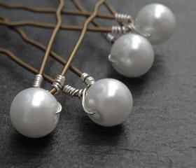 Pearl Hair Pins - Custom Colours shown in White. Large Pearl Hair Accessories Wedding / Bridal