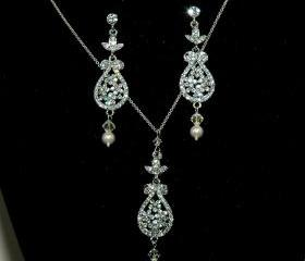 Vintage Bridal Necklace and Earrings Set - Bride Jewelry - Rhinestone Necklace