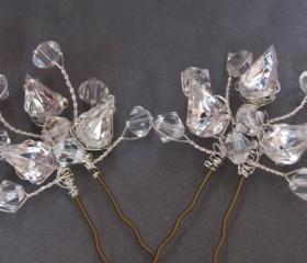 Crystal Hair Pins - Wedding Hair Accessories, Swarovski Crystal and Rhinestone