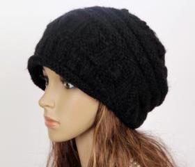 Slouchy woman handmade knitted hat cap black