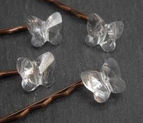Crystal Butterfly Hair Grips, Swarovski Crystal Hair Accessories for Wedding and Prom