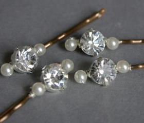 Wedding Hair Accessories - Diamante and Pearl Hair Slides