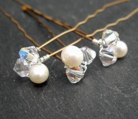 Wedding Hair Pins, Wedding Hair Accessories, Bridal Hair Pins,Crystal and Pearl Clusters