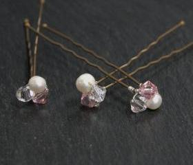 Pink Wedding Hair Accessories, Swarovski crystals and freshwater pearls hair pins for wedding or prom