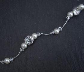 Silver Pearl and Crystal Hair Vine - Bridal Hairvine, Wedding Hair Accessories