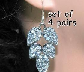 Bridal Bridesmaids Rhinestone Earrings Set of 4 Pairs -Dangle Swarovski Earrings