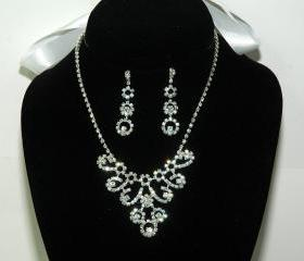 Bridal Rhinestone Necklace - Ribbon Necklace Set - Diamante Wedding Jewellery