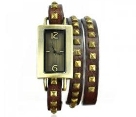 Square Watch with Spike Belt