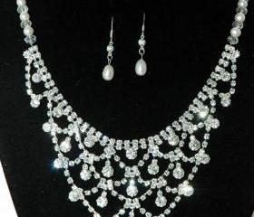 Wedding Rhinestone and Pearl Necklace - Fashion Jewelry - Vintage Style Bridal Necklace Set - Bridal Wedding Jewelry