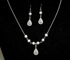 Bridal Pearl Necklace Vintage Inspired Bridal Silver Set with Earrings