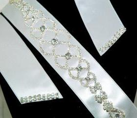 Bridal Sash Belt - Rhinestone Wedding Belt - Crystal Bridal Gown Sash - White Sa