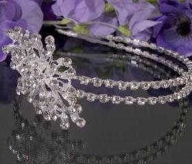 Double Wedding Headband / Side Tiara / Wedding Tiara - Silver Diamante (Rhinestone) Bridal, Wedding