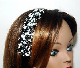 Black Ribbon Headband - Black and White Beaded Headband - Girls Headband - Shell Chip