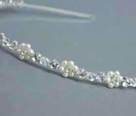 Bridal Hairband, Swarovski Pearls and Clear Rhinestones, Bridesmaids headband Wedding