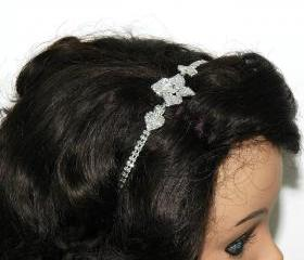Bridal Flower Wedding Ribbon Head Piece - Bridal Headband - Wedding Hair Jewellery