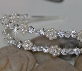 Double Wedding Headband, Bridal Headbands - Rhinestones and Pearl Flowers, Wedding Hair Accessories