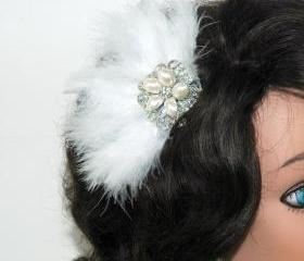 Feather Fascinator Clip - Free Shipping - Bridal Head Piece - Rhinestone