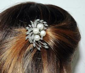 Bridal Wedding Hair Comb Jewelry - Pearl Hair Comb - Rhinestone Hair Comb - Wedding Accessories