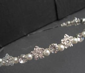 Wedding Headband - rhinestone flower and pearls , Bridal, Silver Diamante and Pearl