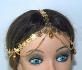 Forehead Band Grecian Inspired Headpiece - fashion jewelry - Gold Plated Flower Headband - Crystal