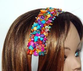 Ribbon Headband Multicolor - Beaded Weaved Headband - Girls Headband - Shell Chi