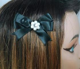 Girls Hair Bow Clip Set of 2 - Pearl Hair Clips - Satin Ribbon Hair Clips - Gif