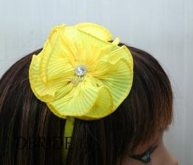 Yellow Flower Headband - Ruffle Fabric Flower with Rhinestone Headband - Your C