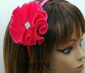 Fuschia Flower Headband - Ruffle Fabric Flower with Rhinestone Headband