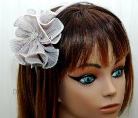 Flower Headband - Gunmetal Ruffle Fabric Flower with Rhinestone Clip - Your Colo
