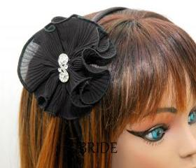 Black Headband Fabric Flower with Rhinestone - Flower Clip Your Color Choice