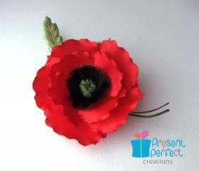 Red fabric poppy, red poppy corsage, Remembrance Day poppy pin