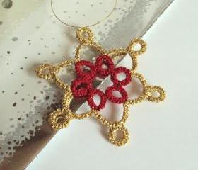Gold, Red Christmas Tree Ornament