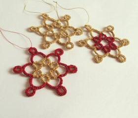 Set Of Three Gold and Red Holiday Ornaments
