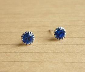 on SALE - Cobalt Blue Round CZ Ear Stud Earrings - 925 Sterling Silver Earrings - Gift under 10 - Cobalt Blue Cubic Zirconia Ear Posts