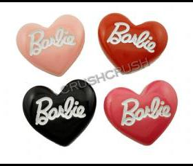 4pcs HOT PINK Resin Huge Barbie Heart Shape Flat Back Cabochons F643