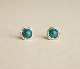 Tender Earrings - Malachite Azurite Stone Wrap Stud Earrings - Gift under 10 - Blue and Green Earrings