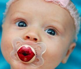 Kissy Face - Hand Painted Custom Pacifier in MAM Clear