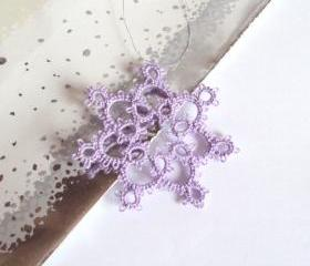 Lilac Lace Christmas Decoration in Tatting