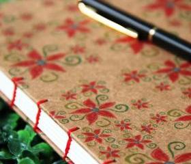 POINSETTIA - Christmas Journal - Handmade Blank Book - Kraft Notebook - A5 - Free Shipping