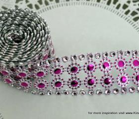 Two yards of faux Rhinestone and Blossom Trim - Fuschia and Diamonds