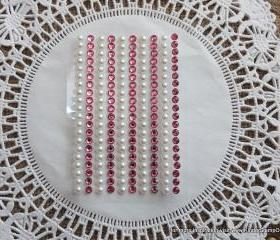 200 - 4mm self adhesive Shabby Chic Bling and Pearls - Girly Pink