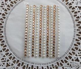 200 - 4mm self adhesive Shabby Chic Bling and Pearls - Peaches and Cream