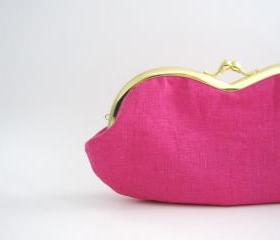 Frame Sunglasses Case Clutch Purse - deep pink linen