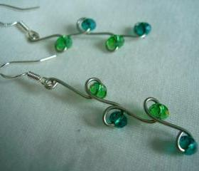 Swarovski Earrings Wire Wrap Silver Aqua Emerald Jewel Tone Long Dangle Chandelier
