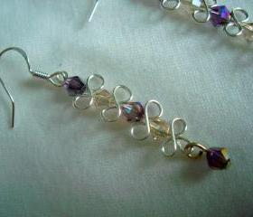 Wire Wrapped Earrings Amethyst Swarovski Bow Earrings Swirl Sterling Silver Bridal Special Occasion